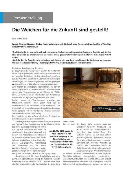 Woodline Parquetry und Der Parkett Riese Pressemitteilung (Cover)
